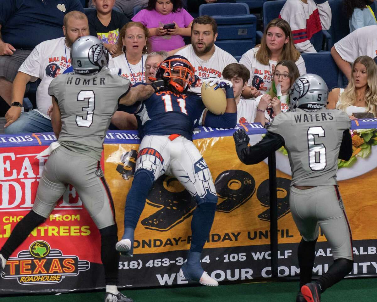 Albany Empire receiver Phillip Barnett catches a pass against the Carolina Cobras during the National Arena League playoffs at the Times Union Center in Albany, NY, on Saturday, Aug. 7, 2021. (Jim Franco/Special to the Times Union)