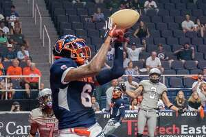 Albany Empire receiver Darius Prince catches a touchdown pass against the Carolina Cobras during an National Arena League playoffs game at the Times Union Center in Albany, NY, on Saturday, Aug. 7, 2021. (Jim Franco/Special to the Times Union)