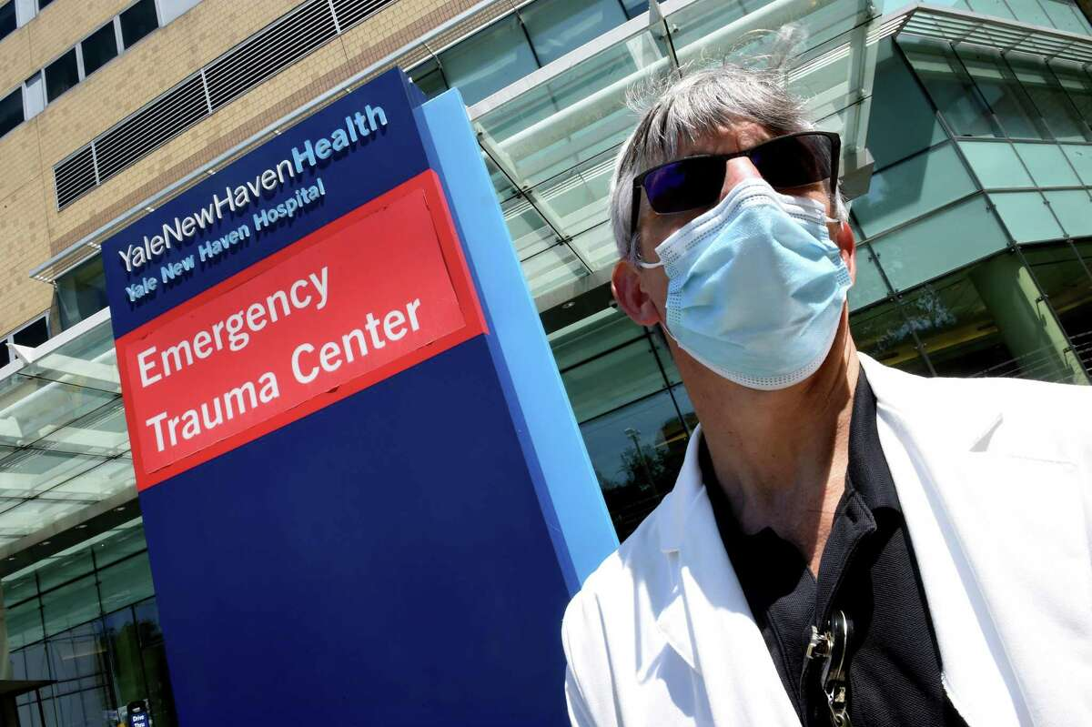 Dr. Andrew Ulrich, vice chair of clinical operations, Dept. of Emergency Medicine, Yale New Haven Hospital, outside of the Emergency Department at Yale New Haven Hospital in New Haven on Friday.