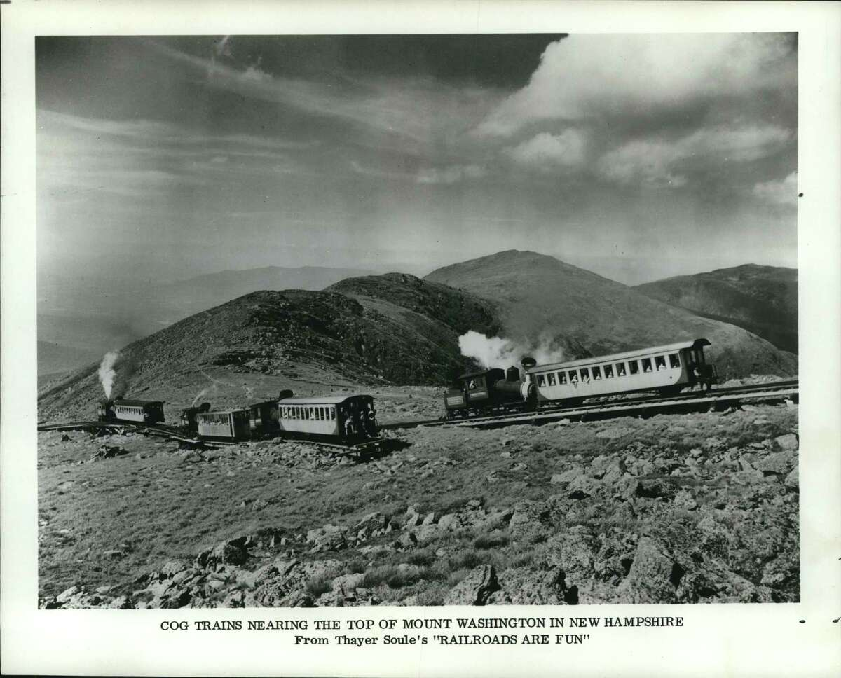 """Railroads - Old. Cog trains nearing the top of Mount Washington in New Hampshire from Thayer Soule's """"Railroads are Fun."""""""