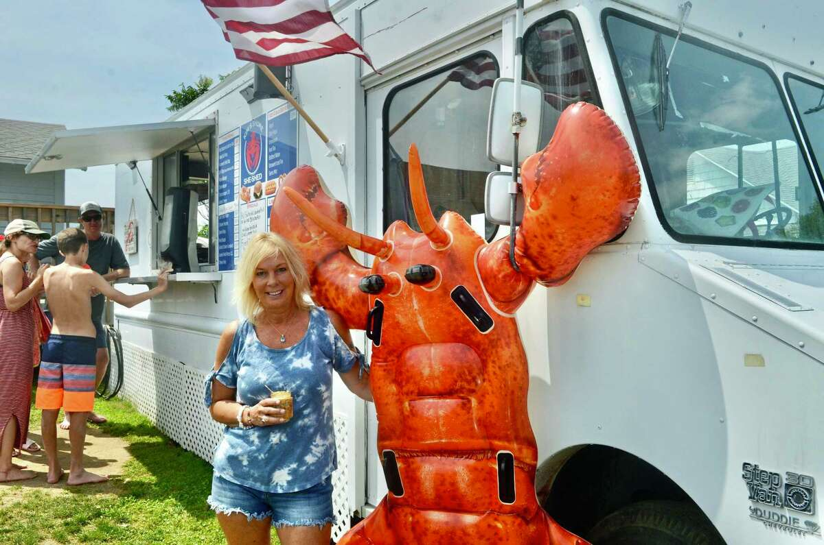 Kim Morgan in front of her food truck Kim's She Shore Shed in Old Saybrook.