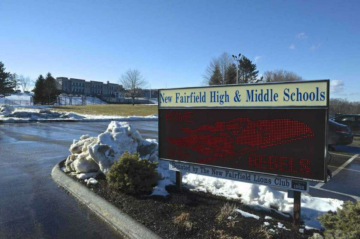 The entrance to the high school and middle school in New Fairfield, Conn. Mask-wearing will be required for students and staff returning to the town's public schools this upcoming academic year.