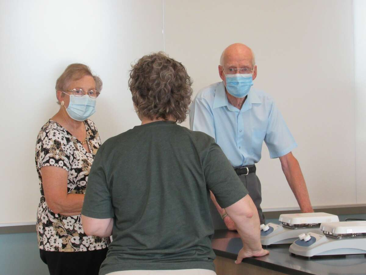 Visitors tour Delta College's new Downtown Midland Center on Saturday, Aug. 7.