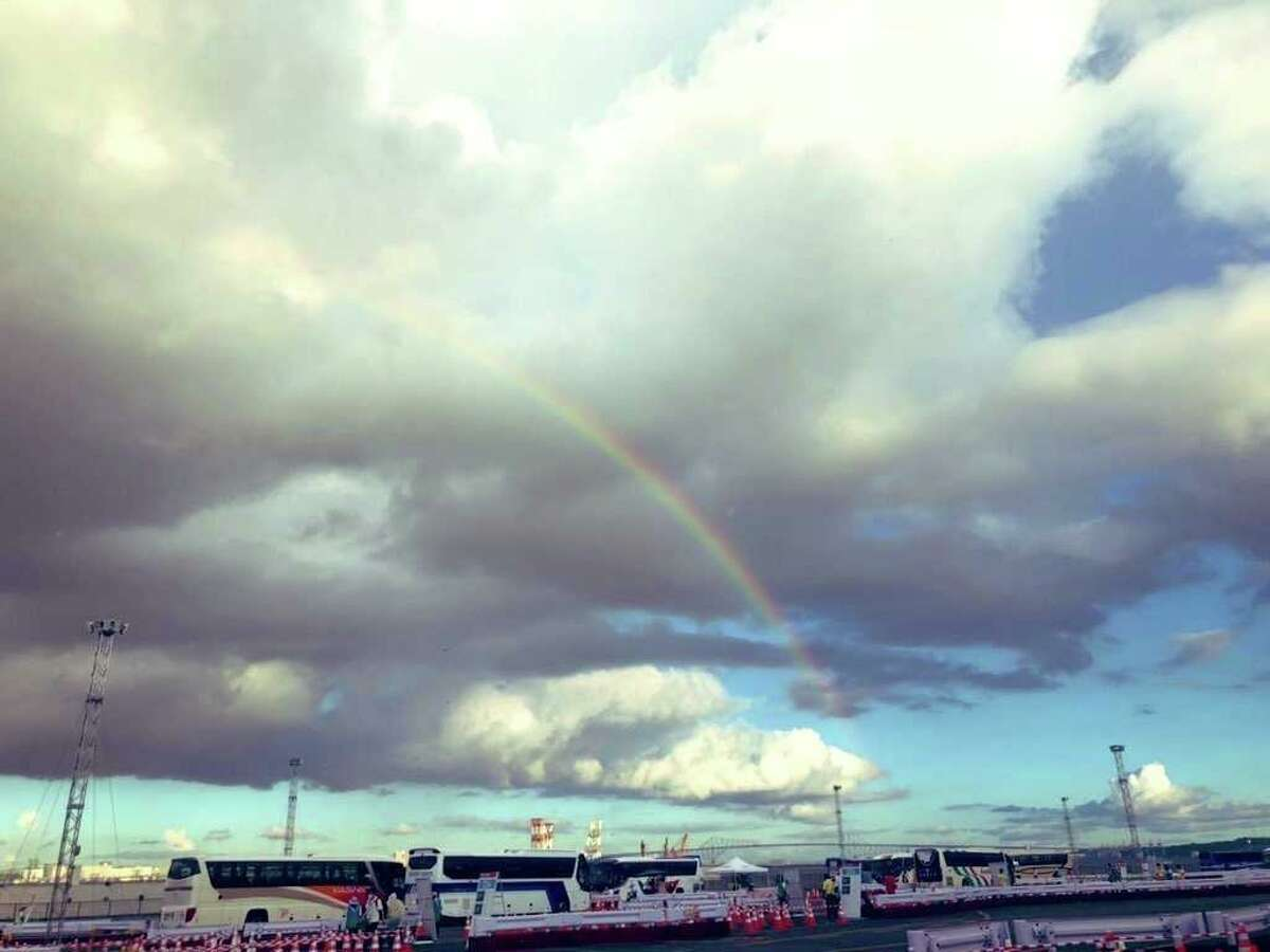 Buses, not a pot of gold, were found at the end of this rainbow. Though there were some complaints early in the Games about late buses, Ann Killion didn't experience that.