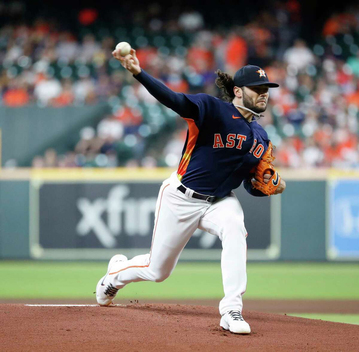 Houston Astros starting pitcher Lance McCullers Jr. (43) pitches to Minnesota Twins Max Kepler during the first inning of an MLB baseball game at Minute Maid Park, Sunday, August 8, 2021, in Houston.