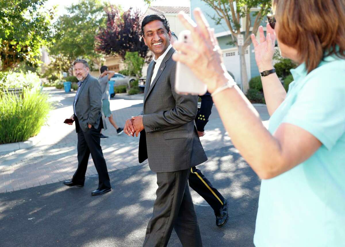 Rep. Ro Khanna, D-Fremont, walks with Santa Clara Mayor Lisa Gillmor at a National Night Out event this month Santa Clara.