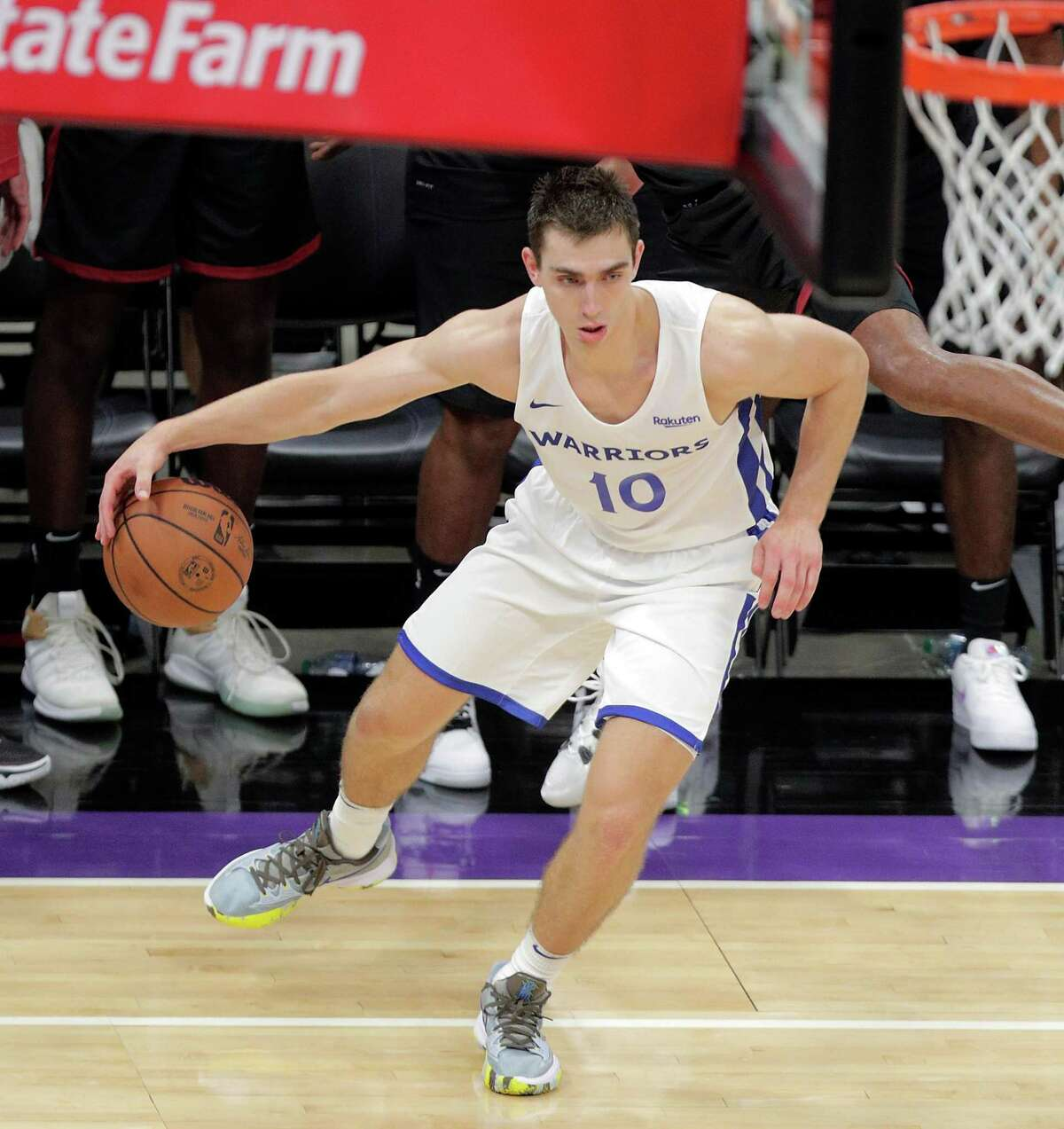 Justinian Jessup (10) in the second half as the Golden State Warriors summer league played the Miami Heat Summer league in the 2021 California Classic at Golden 1 Center in Sacramento, Calif., on Wednesday, August 4, 2021.