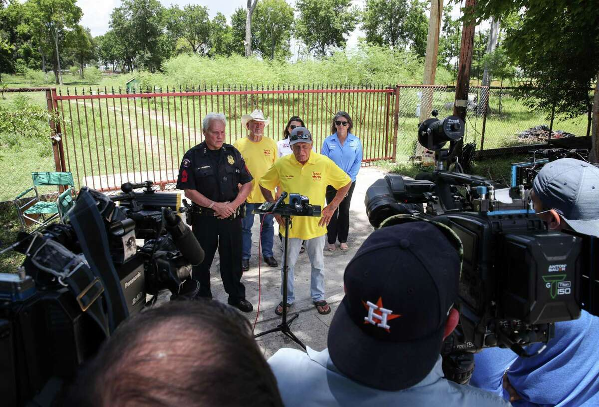 Tim Miller, director of Texas EquuSearch, speaks about the search for victims of serial killer Dean Corll during a press conference Sunday, Aug. 8, 2021, in the 4500 block of Silver Bell St. in Houston.