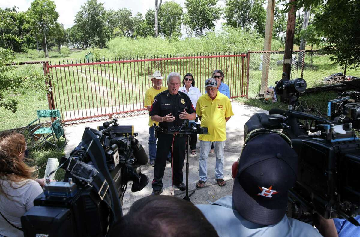 James Anderson, a sergeant with the Pasadena Police Department, speaks about the search for victims of serial killer Dean Corll during a press conference Sunday, Aug. 8, 2021, in the 4500 block of Silver Bell St. in Houston.