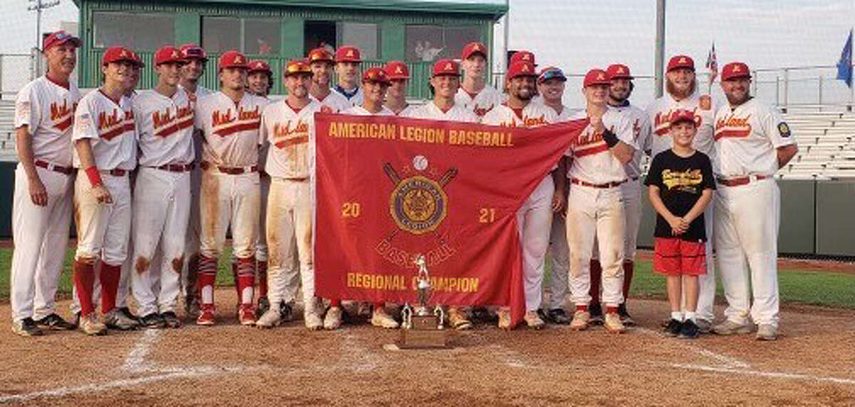 Members of Berryhill Post 165's baseball team pose with the championship trophy and banner following their 10-1 victory over host Morgantown, W. Va., in the title game of the American Legion Baseball Great Lakes Region tournament on Sunday, Aug. 8, 2021.