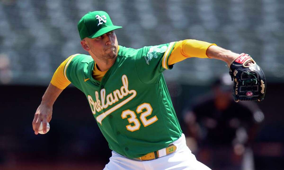 A's starter James Kaprielian walked two and struck out four In upping his record to 6-4 and lowering his ERA to 3.22.