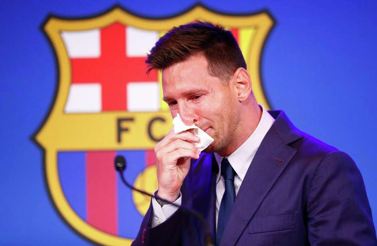 Lionel Messi fights off tears as he explains his decision to leave FC Barcelona after 17 seasons with the Spanish club.