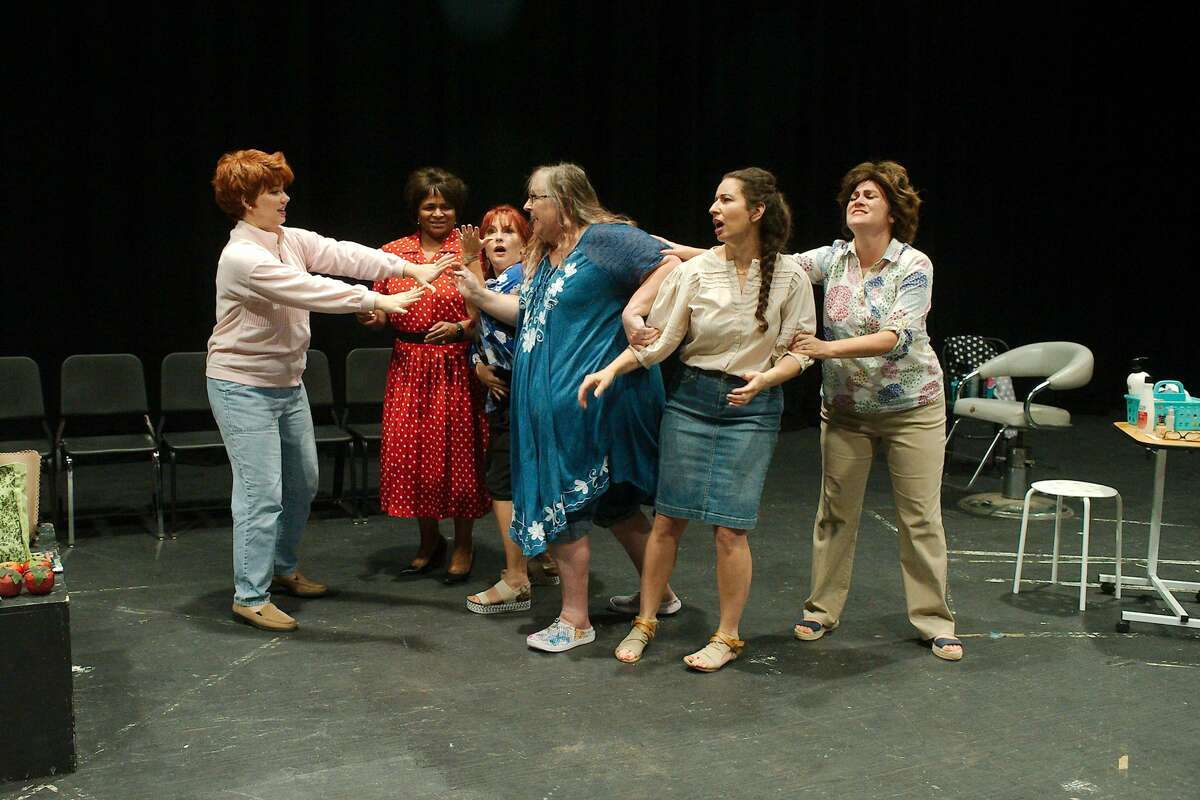 """Dobie High School faculty and staff members Rachel Rodriguez, Nichole Johnson, Lauren Calderaro, Tracy Whatley, Tracie Richeson and Juliet Rogers rehearse a scene from """"Steel Magnolias."""" The Aug. 13-14 production will serve as a fundraiser for the student fall show, """"Walt Disney's High School Musical."""""""