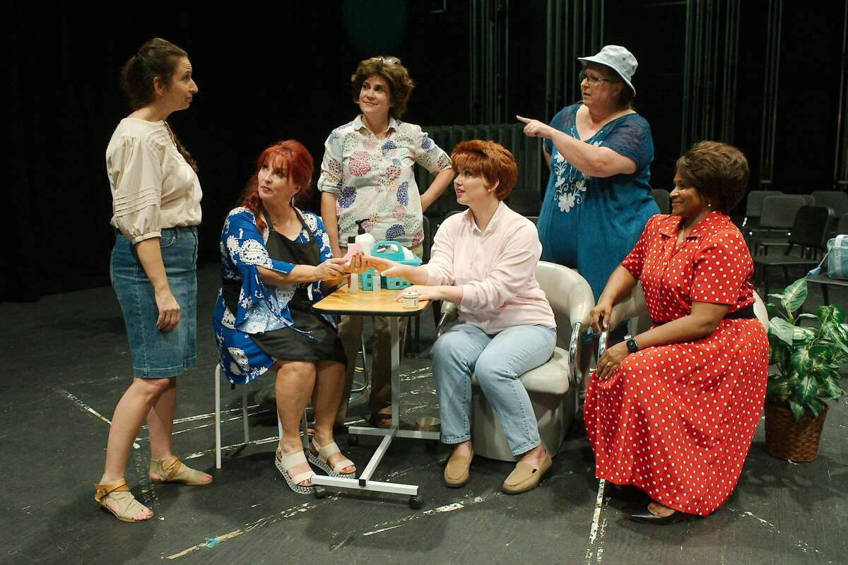 """Tracie Richeson, Lauren Calderaro, Juliet Rogers, Rachel Rodriguez, Tracy Whatley and Nichole Johnson rehearse a scene from """"Steel Magnolias."""""""