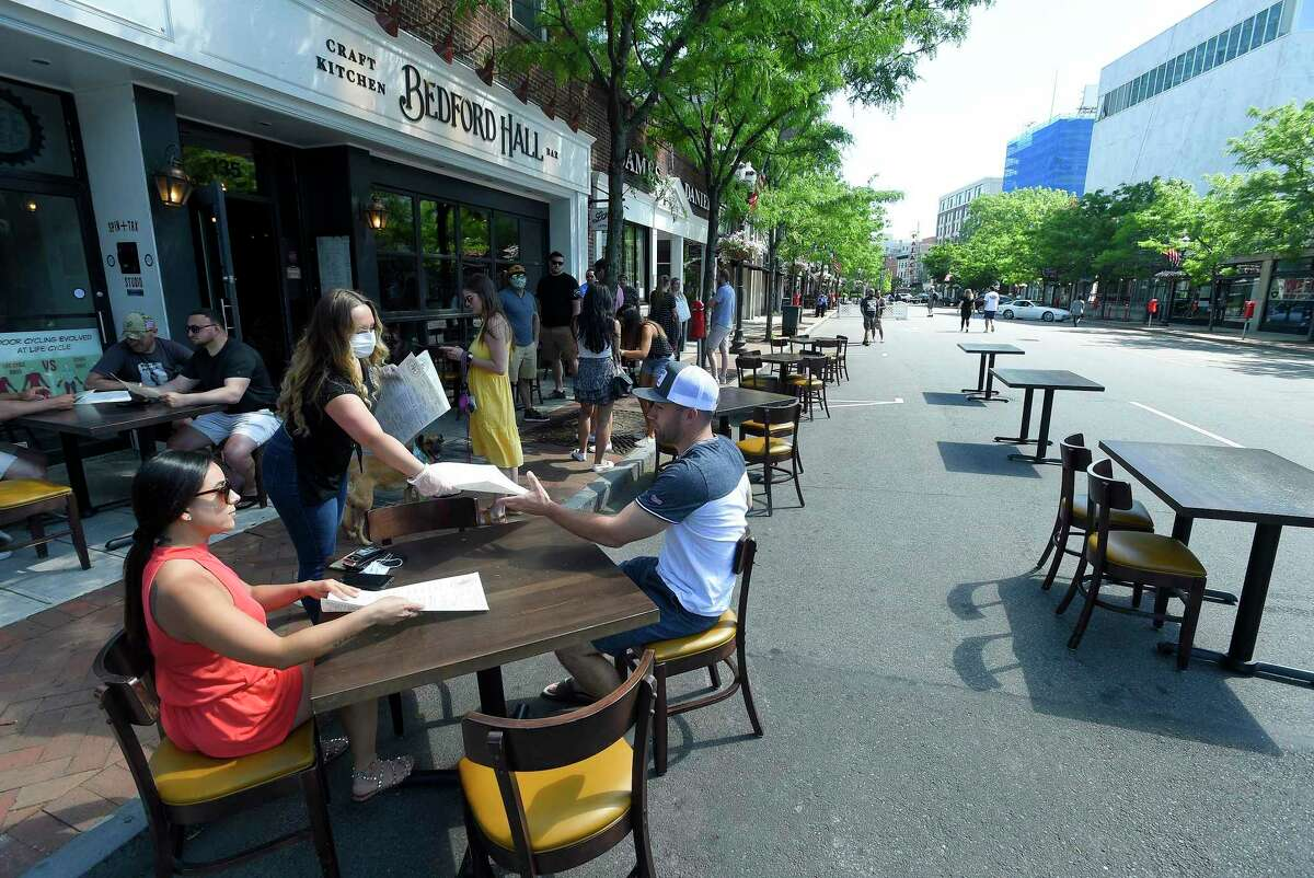 Area restaurants begin to transform Bedford Street into outdoor Streateries on May 30, 2020 in Stamford, Connecticut.