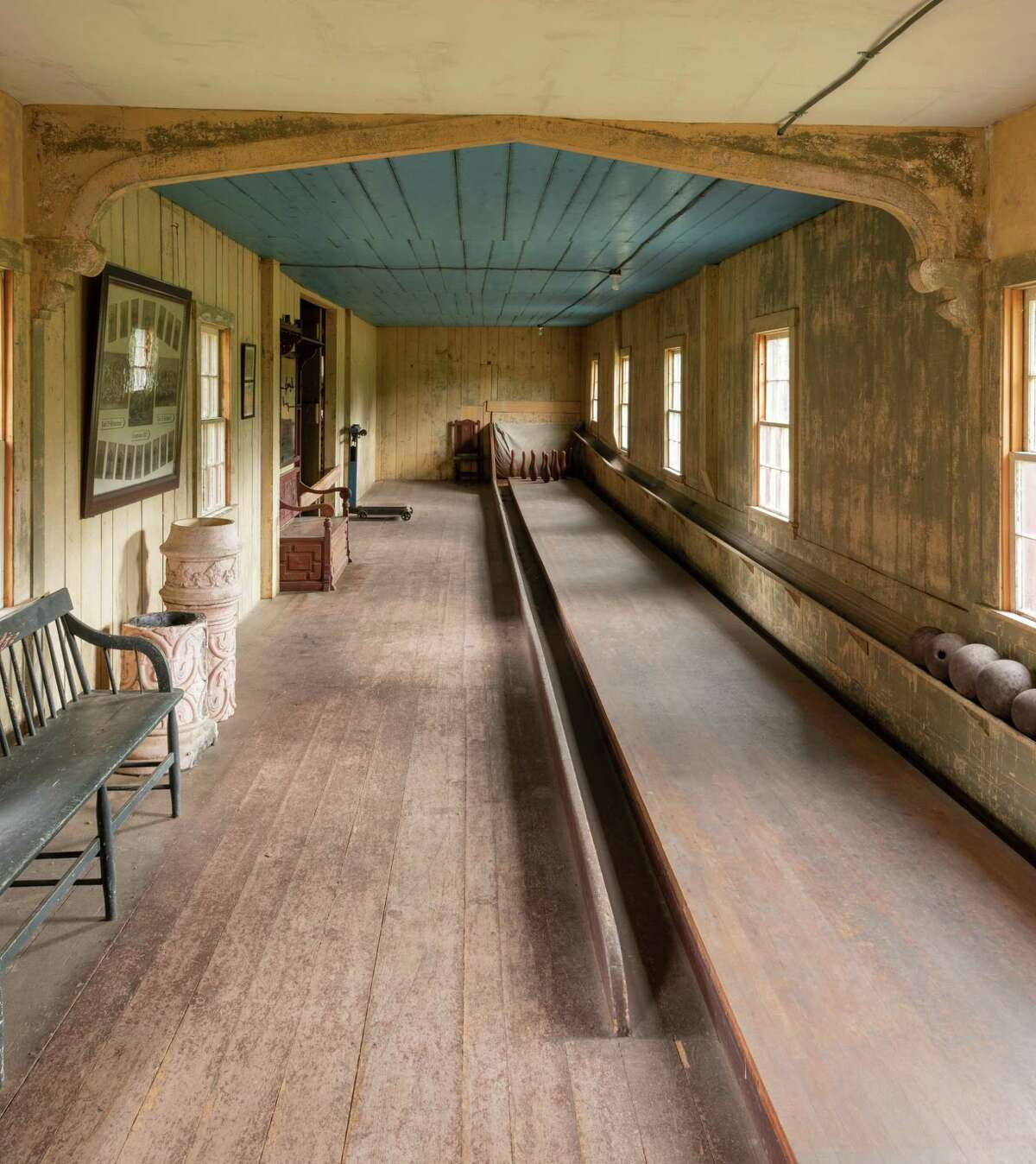 The bowling alley at Roseland Cottage in Woodstock, Conn. is the oldest surviving bowling alley in the United States.