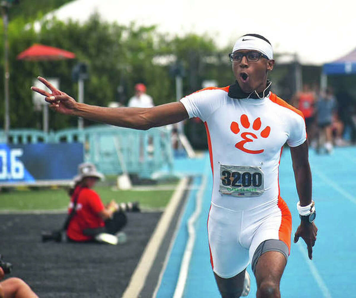 Edwardsville senior Brandon Battle reacts after winning the 100 meters out of lane 1 at the Class 3A state meet at Eastern Illinois in Charleston. Battle, who also won the 200 and 400, is the 2021 Telegraph Large-Schools Boys Track Athlete of the Year.