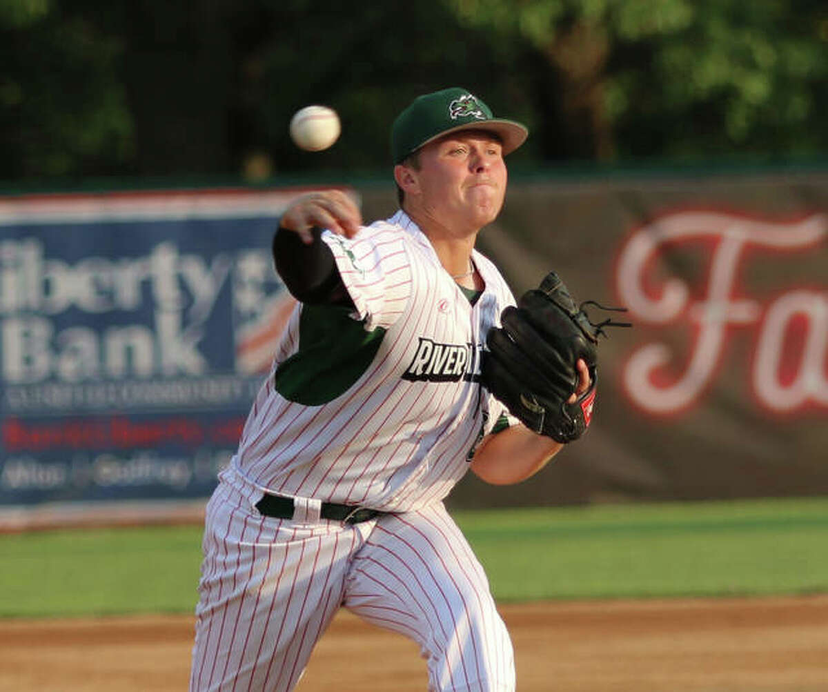 River Dragons pitcher Adam Stilts delivers to the plate during a Prospect League game last month at Hopkins Field in Alton. The Alton High and LCCC product went 8-2 to tie a league record for wins.