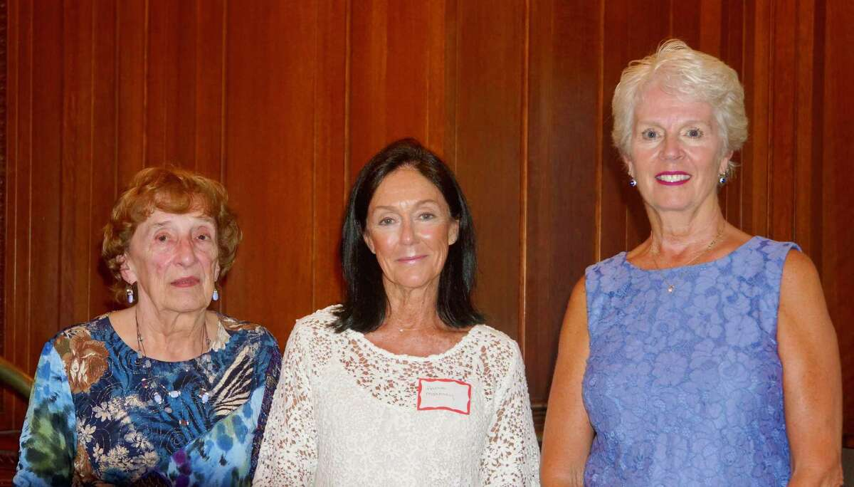 Outgoing board members, from left, Geraldine Reider, Hatsie Mahoney and Paula Harrington.