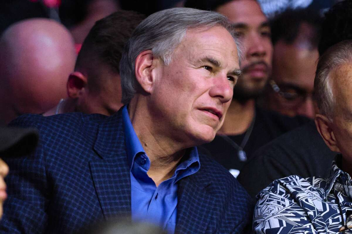 Governor of Texas Greg Abbott is seen in attendance during the UFC 265 event at Toyota Center on August 07, 2021 in Houston, Texas.