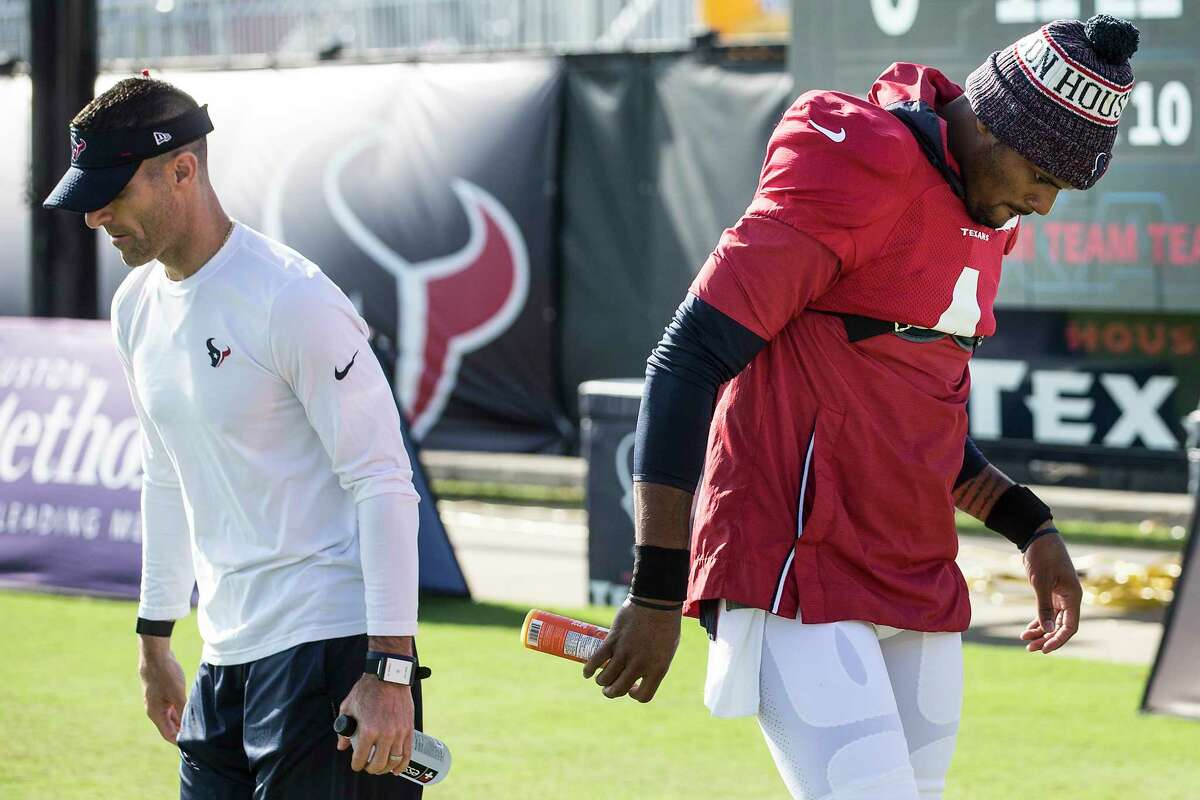 The Texans and GM Nick Caserio declined to go into specifics on how the team is handling its situation with the embattled quarterback.