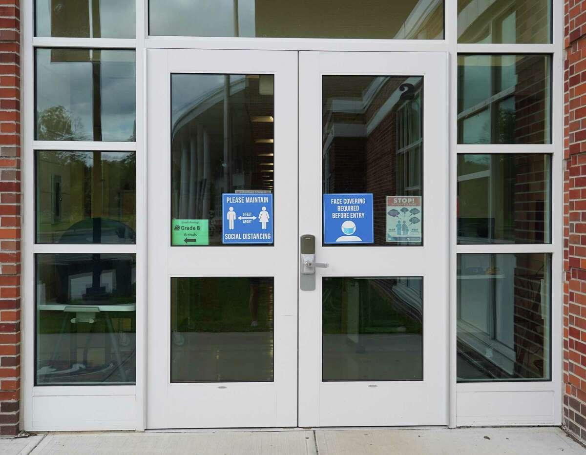 Saxe Middle School front doors.