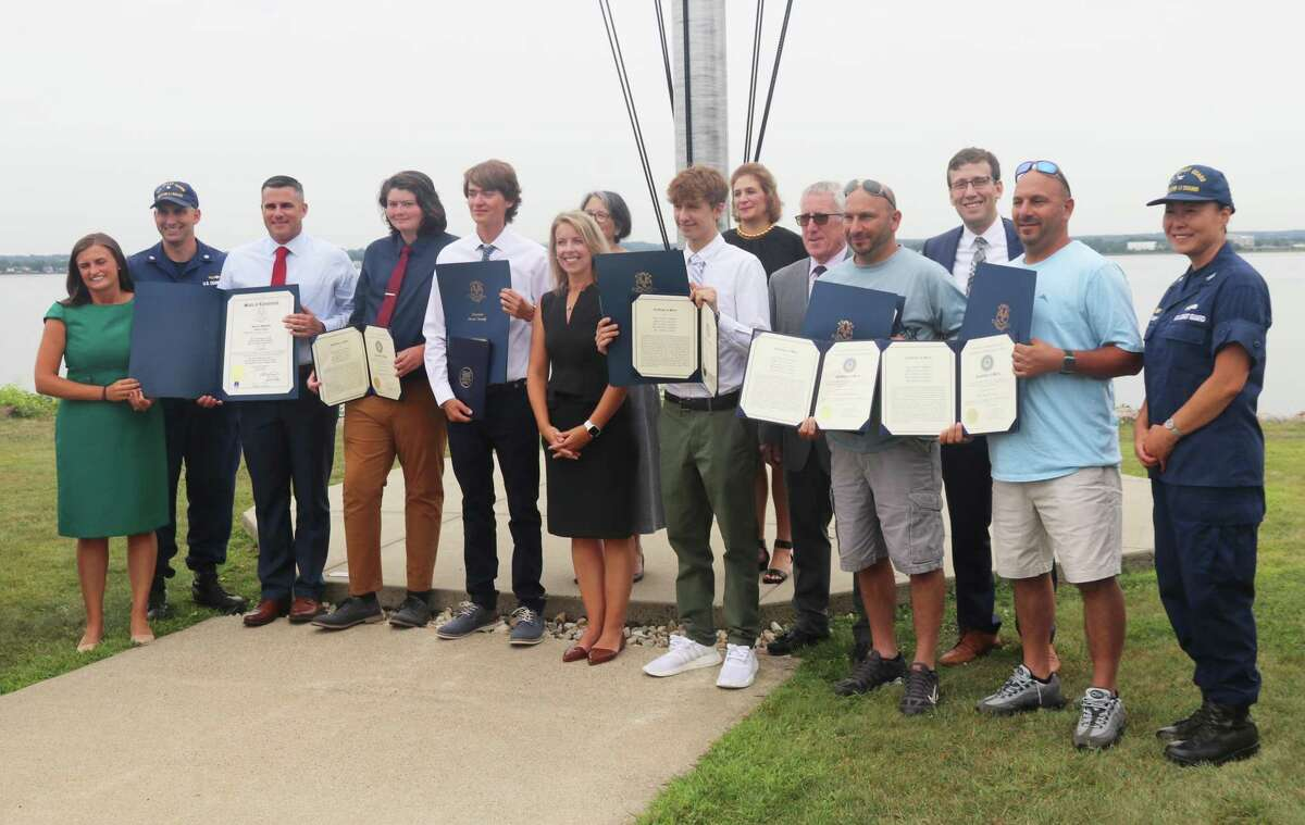 State Sen. Christine Cohen joined the U.S. Coast Guard in New London last week to congratulate five Connecticut men who helped rescue five elderly men at sea in late June as a 25-foot boat was taking on water and sinking six miles off the coast of Connecticut in the Long Island Sound.