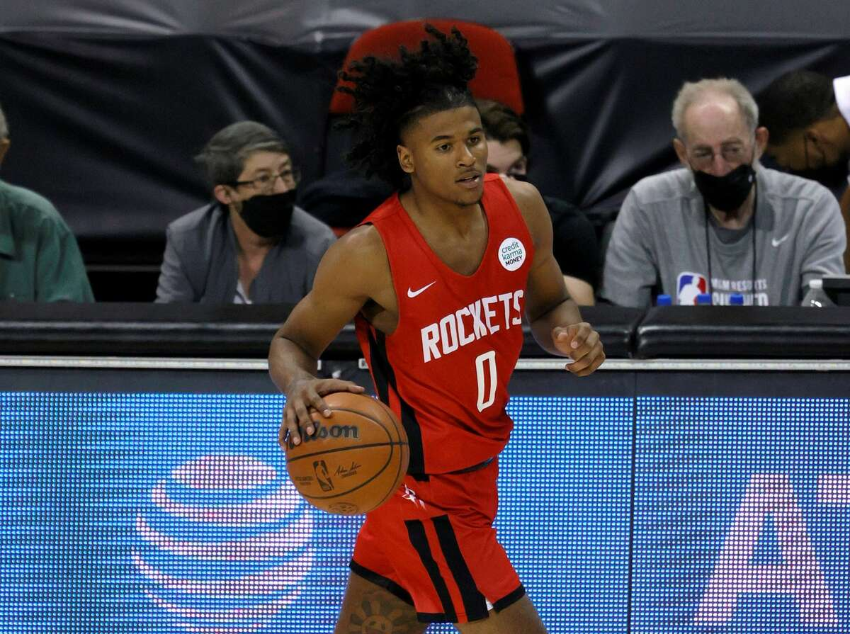 The Rockets' Jalen Green brings the ball up the court against the Cleveland Cavaliers during the 2021 NBA Summer League at the Thomas & Mack Center on August 8, 2021 in Las Vegas, Nevada.