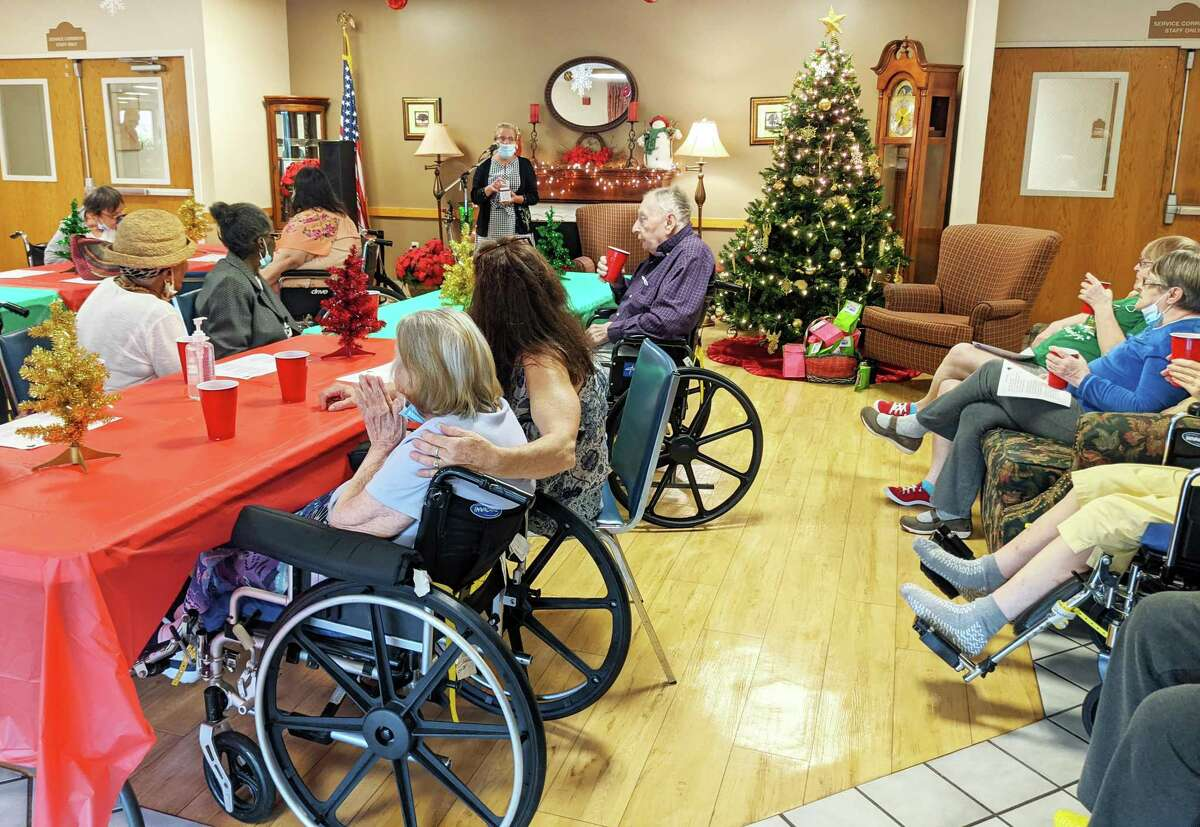 """Wadsworth Glen Health Care and Rehabilitation Center enjoy a recent """"Christmas in July."""""""