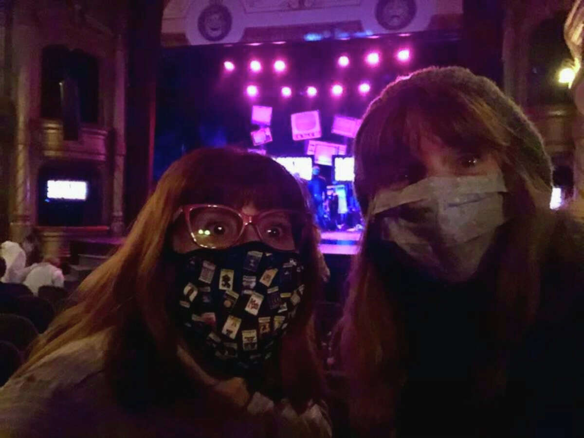 """Jillian Becker, left, and Ellen Cribbs shot this selfie prior to a performance of """"I Love You, You're Perfect, Now Change"""" by Playhouse Stage Company at Cohoes Music Hall in spring 2021. The music hall joins a dozen other Capital Region venues and performing-arts organizations in again requiring audiences and staff members wear masks. (Photo courtesy Ellen Cribbs.)"""