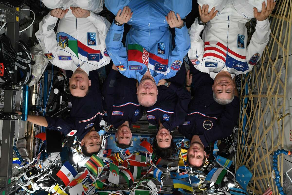 Crew members on the International Space Station recently competed in the space Olympics. This picture was shared on Twitter (as it's currently shown, with the crew upside down) by European Space Agency astronaut Thomas Pesquet.