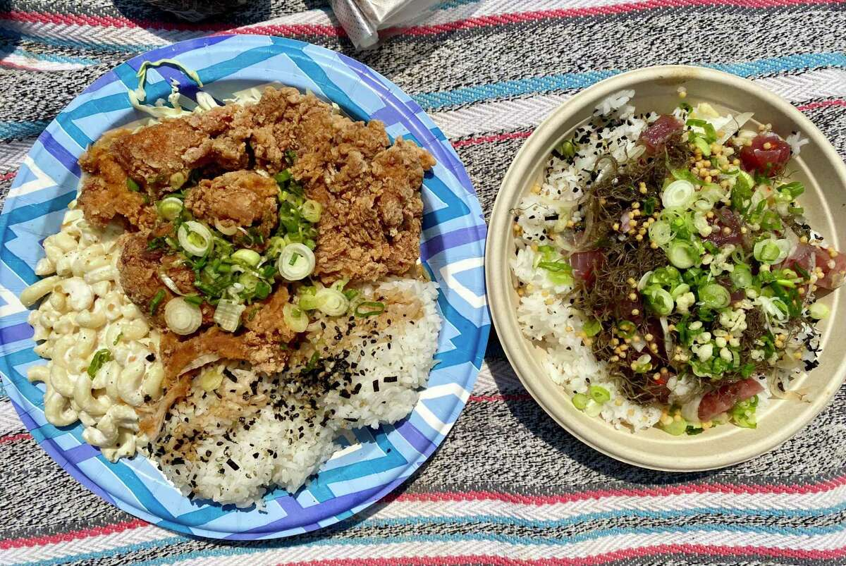 The fried mochiko chicken plate, left, and ahi poke from Diamond Head General Store in San Bruno.