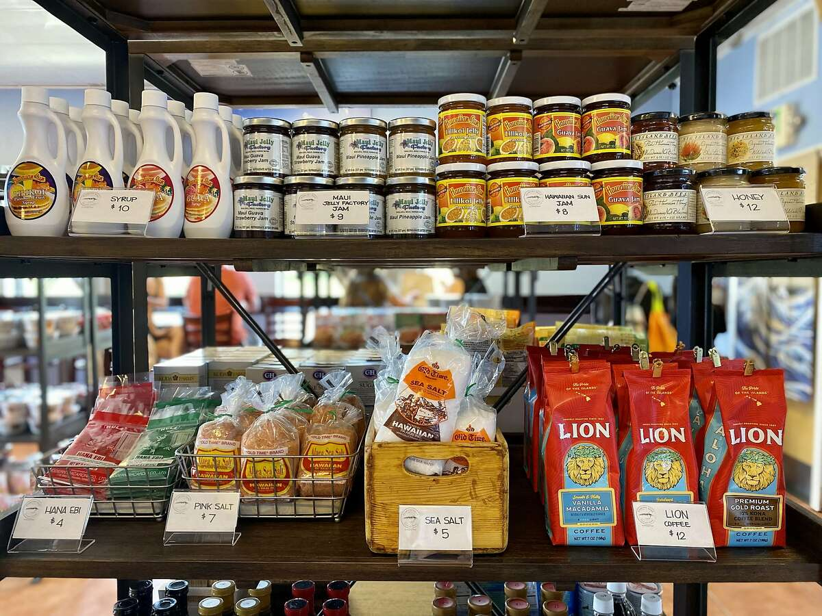 Guava jam, coffee, sea salt and other Hawaiian products for sale at Diamond Head General Store in San Bruno.