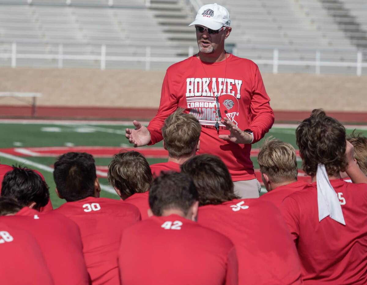 Coahoma Coach Chris Joslin talks with his players after practice 08/09/2021 during morning practice at Bill Easterling Memorial Stadium. Tim Fischer/Reporter-Telegram