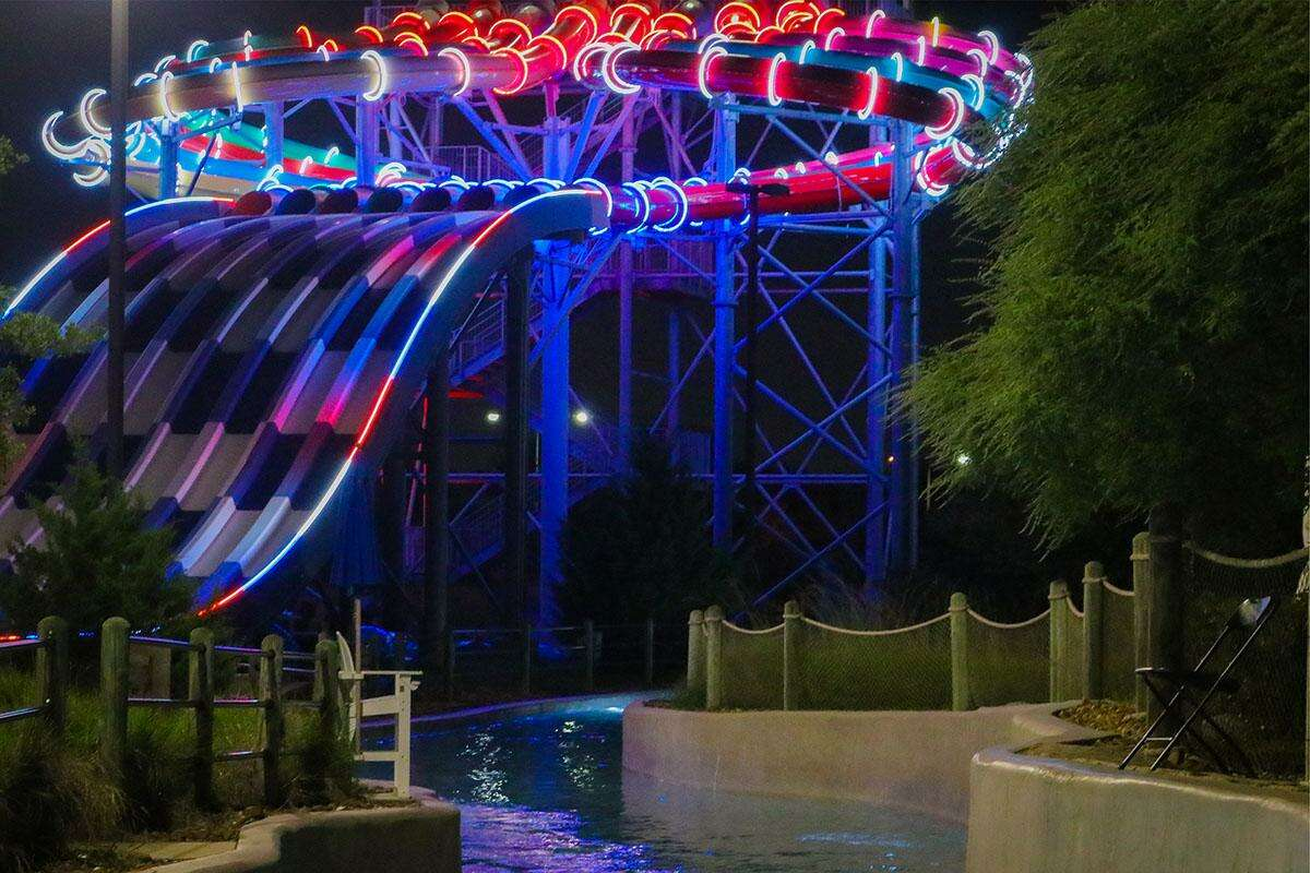 Typhoon Texas is saluting local Olympic gold medalist Tamyra Mensah-Stock of Katy and all other Olympic competitors with a waterslide bathed in lights of red, white and blue. The specially lit slide will be on display at the west Houston waterpark through Aug. 21, 2021.