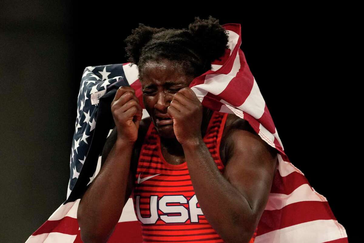 United States Tamyra Marianna Stock Mensah celebrates defeating Nigeria's Blessing Oborududu and winning the women's 68kg Freestyle wrestling final match at the 2020 Summer Olympics, Tuesday, Aug. 3, 2021, in Chiba, Japan.