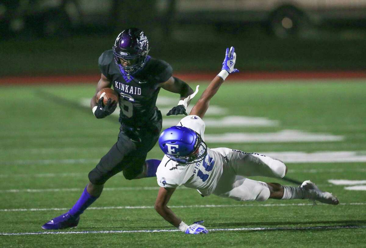 Kinkaid Falcons running back Dillon Bell (6) avoids the tackle of the Episcopal Knights defensive back Miles Jones (10) in the second quarter in a division high school football game on November 6, 2020 at Segal Field at Barnard Stadium in Houston, TX.