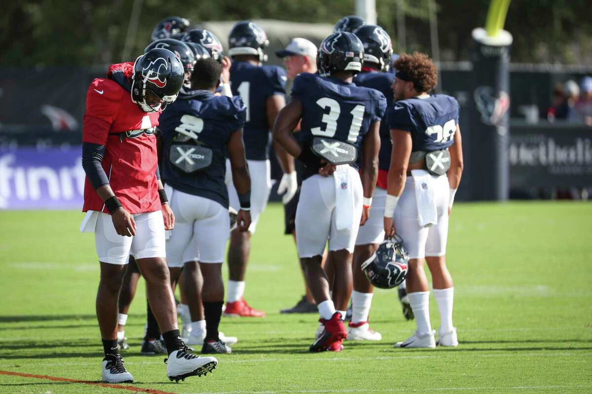 The movements of Deshaun Watson (left) at Texans camp have been well-chronicled even though he's been mostly an observer as he looks to get traded and faces 22 lawsuits accusing him of sexual misconduct.