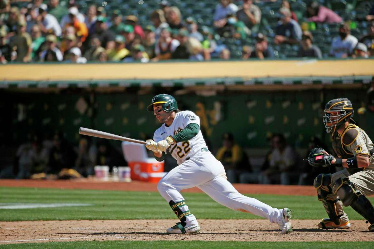 Oakland Athletics right fielder Ramon Laureano (22) in the ninth inning during an MLB game against the San Diego Padres at RingCentral Coliseum on Wednesday, Aug. 4, 2021, in Oakland, Calif.