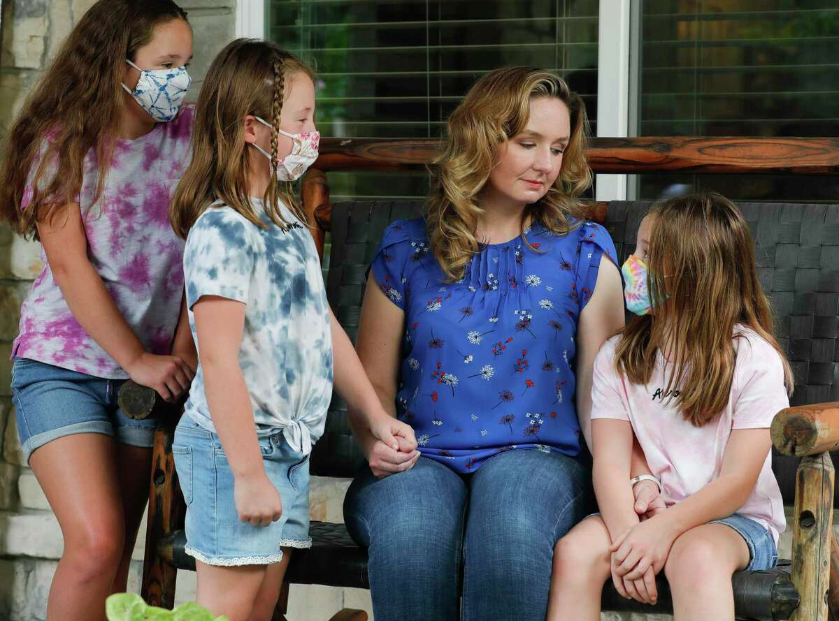 Tricia Danto, second from right, will be applying for the newly announced limited virtual program for her daughters, Lucy, far left, Ellie and Abbie to attend this school year. Tricia, along with her seven-year-old daughter are both immunocompromised, is concerned about the family's safety as in-person school begins.