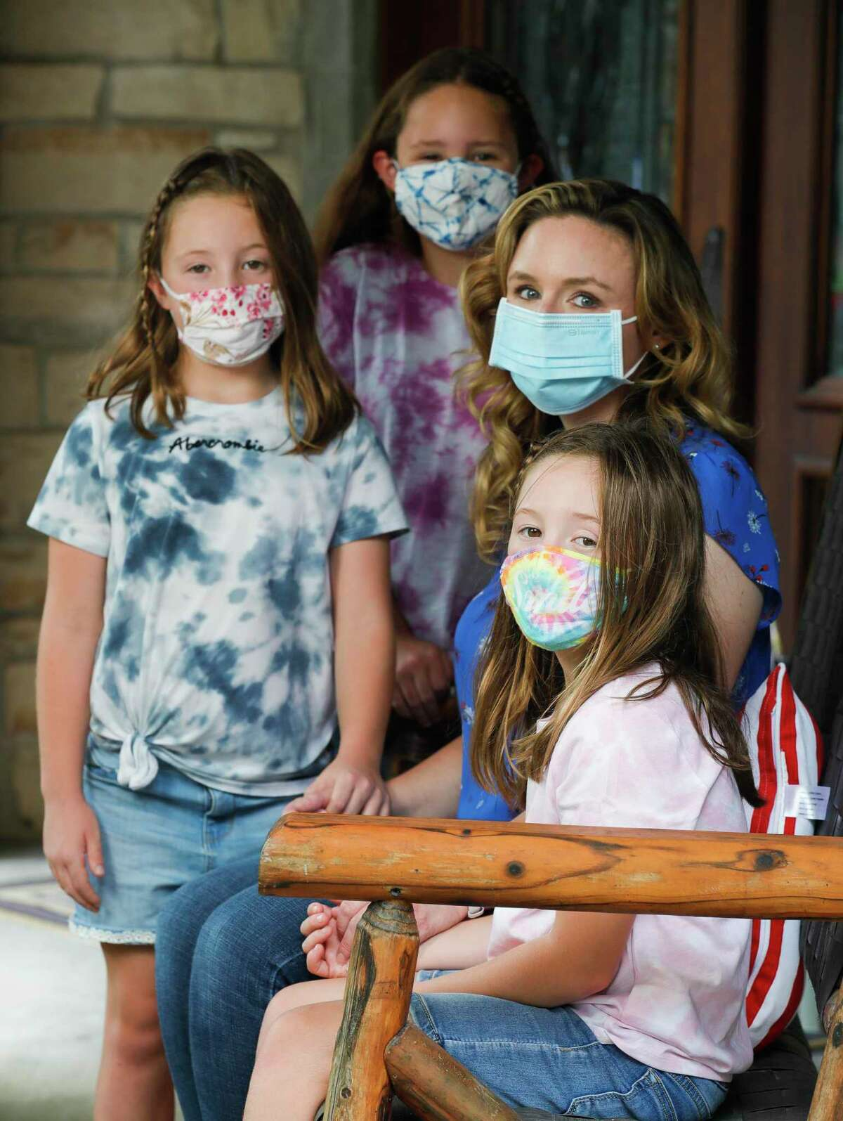 Tricia Danto, second from right, will be applying for the newly announced limited virtual program for her daughters, Lucy, top, Ellie, left, and Abbie to attend this school year. Tricia, along with her seven-year-old daughter are both immunocompromised, is concerned about the family's safety as in-person school begins.