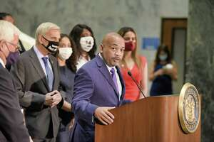Assembly Speaker Carl Heastie speaks at a press conference following an Assembly Judiciary Committee meeting on Monday, Aug. 9, 2021, in Albany, N.Y. The committee is investigating Governor Andrew Cuomo.