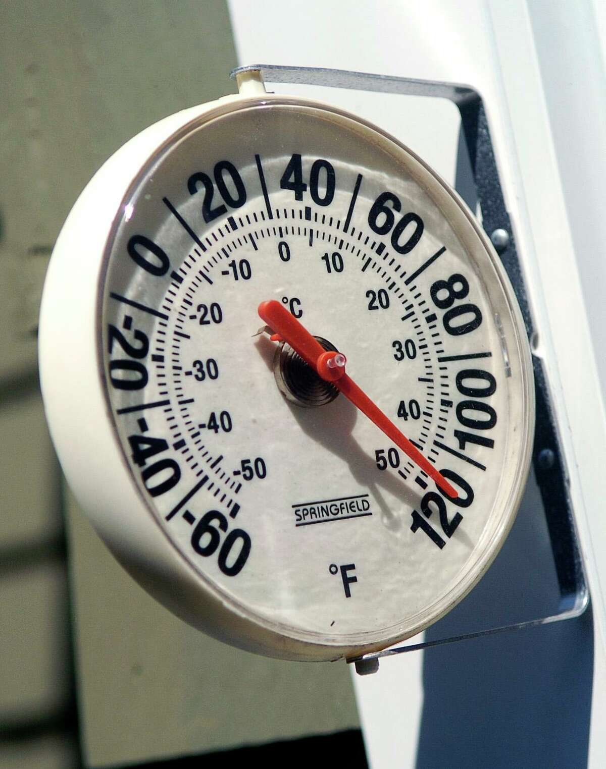 A thermometer in the sun in downtown Stamford during a recent heat wave.