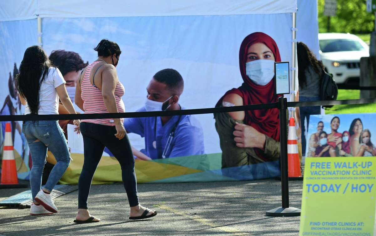 The FEMA mobile vaccination clinic stationed in the parking lot at 50 Washington Street Friday, May 24, 2021, in Norwalk, Conn.