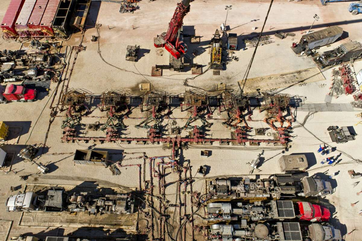 Pipes connect six Chevron oil wells being readied for hydraulic fracturing in the Permian Basin near Midland, Texas.