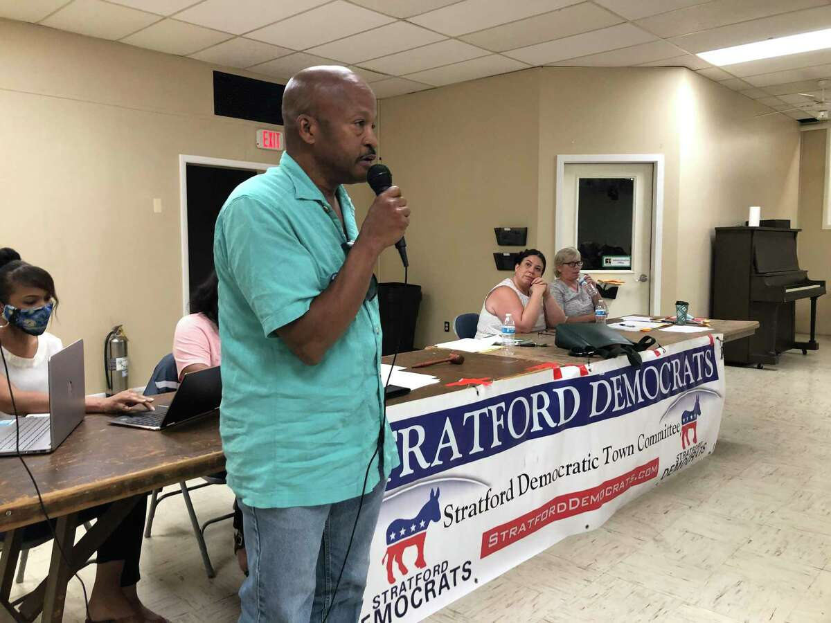 Stratford Town Council member Paul Tavaras, D-3, nominates Stephanie Philips during an endorsement meeting of the Democratic Town Committee July 21, 2021.