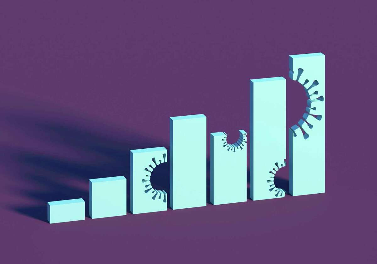 Digital generated image of abstract vertical bar chart with missing bites in the shape of coronaviruses on purple background.