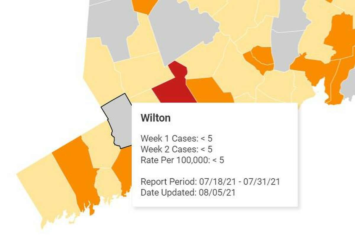 """Wilton First Selectwoman Lynne Vanderslice said that the town is """"an island of gray in a sea of color,"""" referencing the interactive map published weekly by the Connecticut State Department of Health."""