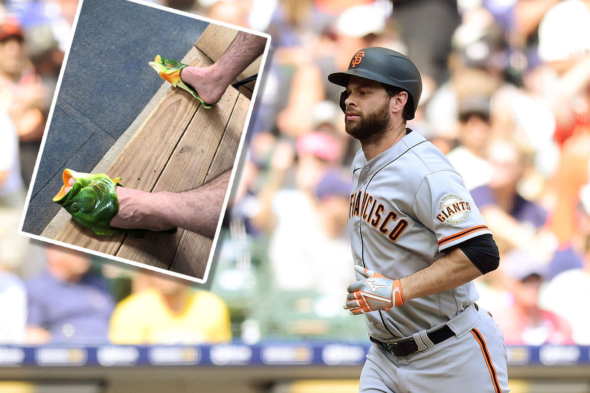 Brandon Belt is making teammates smile with his new fishy shower shoes, along with a recent power surge.