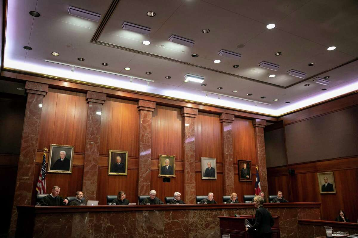 Amy Kastely, the pro-bono lawyer for the Hays Street Restoration Group, presenting her arguments to the justices at the Texas Supreme Court on Thursday for the long-running case.